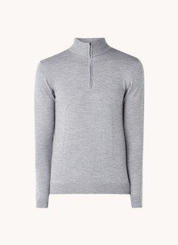 Profuomo Profuomo Fijngebreide pullover van merino wol met halve rits