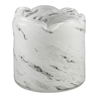 Firawonen.nl Vaas ravi wit handgeblazen glas rond m