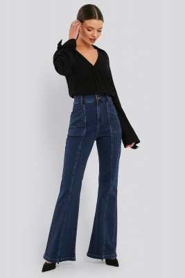 NA-KD Trend NA-KD Trend High Waist Front Seam Flare Jeans - Blue