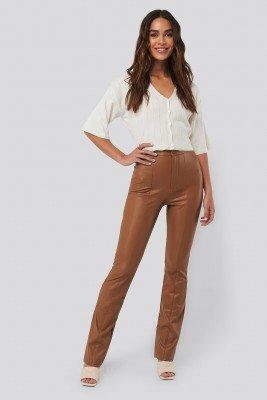 NA-KD Flared PU Pants - Brown