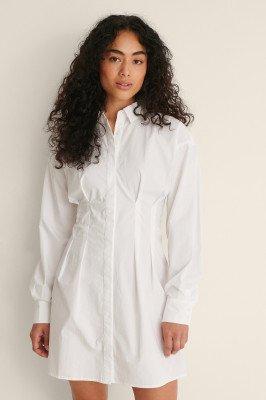NA-KD Trend NA-KD Trend Organisch Mini-jurk Met Rimpeldetail - White