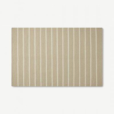 MADE.COM Hemsworth omkeerbaar wollen vloerkleed, groot 160 x 230 cm, papyrus en donkertaupe