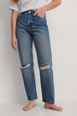 NA-KD Trend NA-KD Trend Organisch Rechte Versleten Jeans Met Hoge Taille - Blue