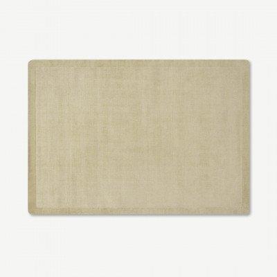 MADE.COM Jago vloerkleed met rand, groot, 160 x 230 cm, licht taupe