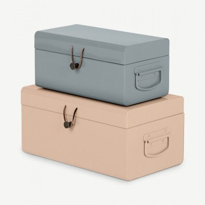 MADE.COM Daven set van 2 metalen opbergkoffers, roze en grijs
