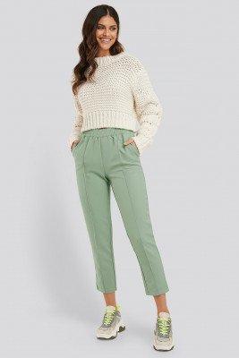 NA-KD NA-KD Elastic Waist Seamline Pants - Green