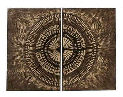 J-Line J-Line Set van 2 schilderijen 'Alfrida' Canvas, kleur goud