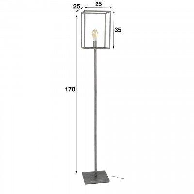 LifestyleFurn Industriële Vloerlamp 'Cubic' oud zilver
