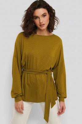 NA-KD NA-KD Belted Long Sleeve Top - Green