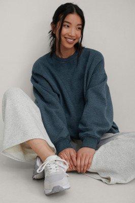 NA-KD Trend NA-KD Trend Organisch Oversized Geborsteld Sweatshirt - Navy