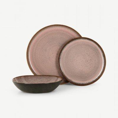 MADE.COM Krisha 12-delig serviesset, bessenroze en houtskoolgrijs