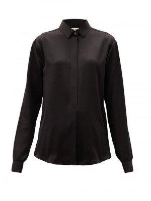 Matchesfashion Saint Laurent - Point-collar Silk-satin Blouse - Womens - Black