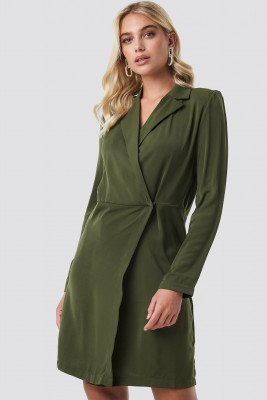 NA-KD Party NA-KD Party Collared Wrap Over Midi Dress - Green