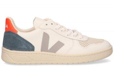 VEJA VEJA V-10 Leather Wit/Grijs/Oranje Herensneakers