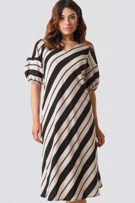 NA-KD Boho Striped Balloon Sleeve Dress - Beige