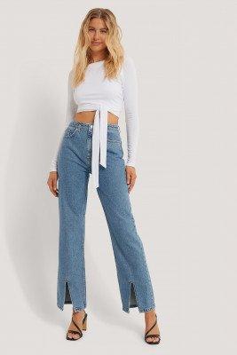 Danaë x NA-KD Danaë x NA-KD Jeans Met Split Aan De Voorkant - Blue