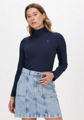 Tommy Jeans Donkerblauwe Tommy Jeans T-shirt Tjw Rib Mock Neck Longsleeve