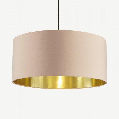 MADE.COM Oro hanglampenkap, roze en geborsteld messing