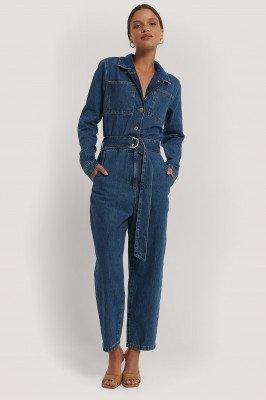 NA-KD Trend NA-KD Trend Jeansjumpsuit Met Tailleriem - Blue