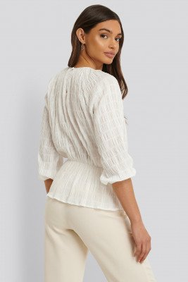 NA-KD NA-KD Blouse Met Structuur - White