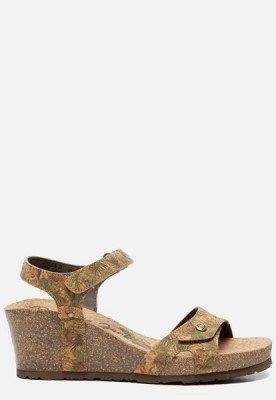 Panama Jack Panama Jack Julia Cork B3 sandalen met sleehak taupe