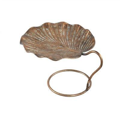 Firawonen.nl PTMD vincy goud ijzeren schaal op voet blad vorm