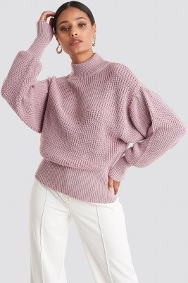 NA-KD NA-KD Volume Sleeve High Neck Knitted Sweater - Pink