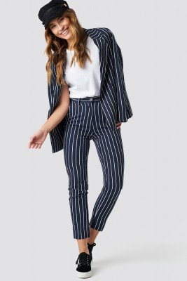 NA-KD Classic NA-KD Classic Navy Striped Suit Pants - Blue