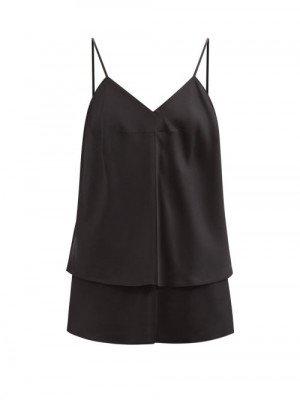 Matchesfashion Mm6 Maison Margiela - V-neck Layered Satin Cami Top - Womens - Black