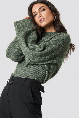 NA-KD Trend NA-KD Trend Wool Blend Wide Sleeve Sweater - Green