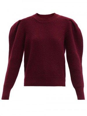 Matchesfashion Isabel Marant - Robin Pleated-sleeve Ribbed Merino-blend Sweater - Womens - Burgundy