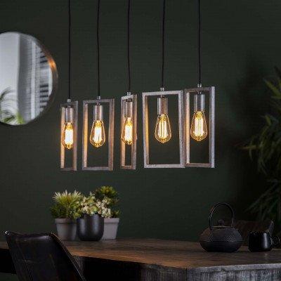 LifestyleFurn Hanglamp 'Danielle' Oud zilver, 5-lamps