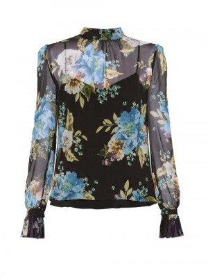Matchesfashion Erdem - Barnaby Carnation-print Silk-voile Blouse - Womens - Black Print