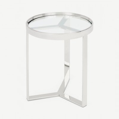 Aula ronde bijzettafel, chroom en glas