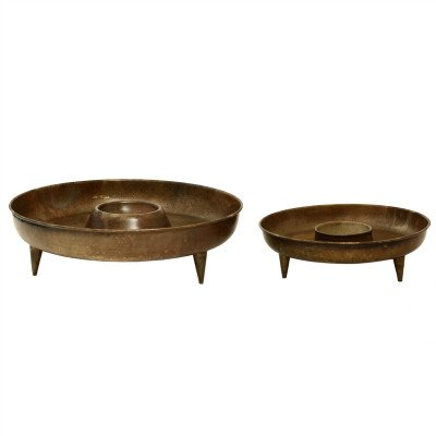 Firawonen.nl PTMD Qilan Brass iron bowl set of 2 round cup in middle