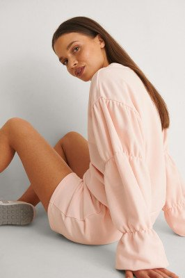 NA-KD Reborn NA-KD Reborn Organisch Sweatshirt Met Gedetailleerde Mouwen - Pink