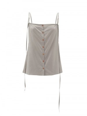 Lemaire - Buttoned Silk-blend Cami Top - Womens - Grey