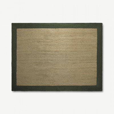 MADE.COM Granico vloerkleed van 100% jute met contrastranden, groot, 160 x 230 cm, lichtbeige en groen
