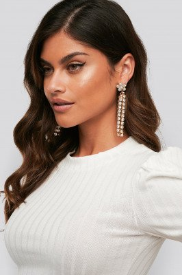 NA-KD Accessories NA-KD Accessories Dropping Flower Strass Earrings - Gold