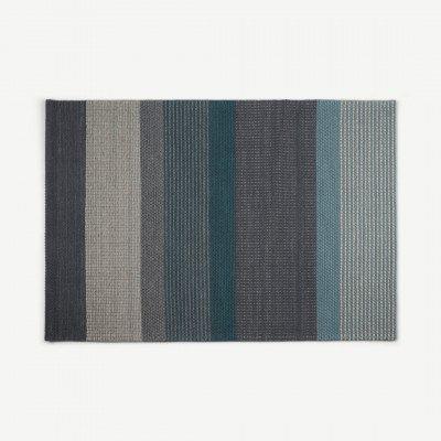 MADE.COM Sanlow gestreept vloerkleed, 160 x 230 cm, turkooisblauw