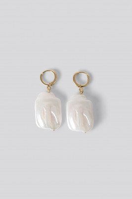 NA-KD Accessories Pearl Hanging Earrings - Gold