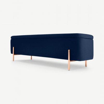 MADE.COM Asare bank met opslagruimte, 150cm, koningsblauw fluweel en koperen poten