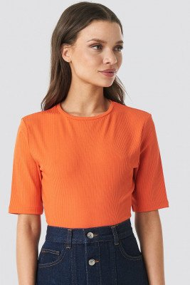 NA-KD NA-KD Ribbed Cropped Top - Orange