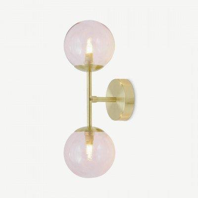 MADE.COM Globe wandlamp, geborsteld messing and lichtroze glas
